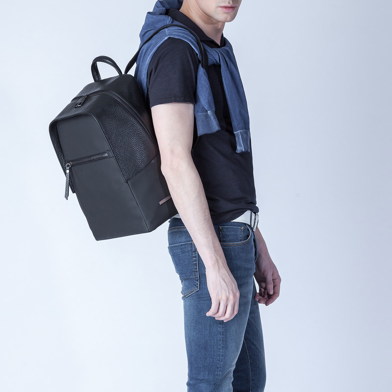 Black Grained Leather and Nylon Amsterdam Backpack YT 8468838 BLN | TJ COLLECTION | Side Image - 4