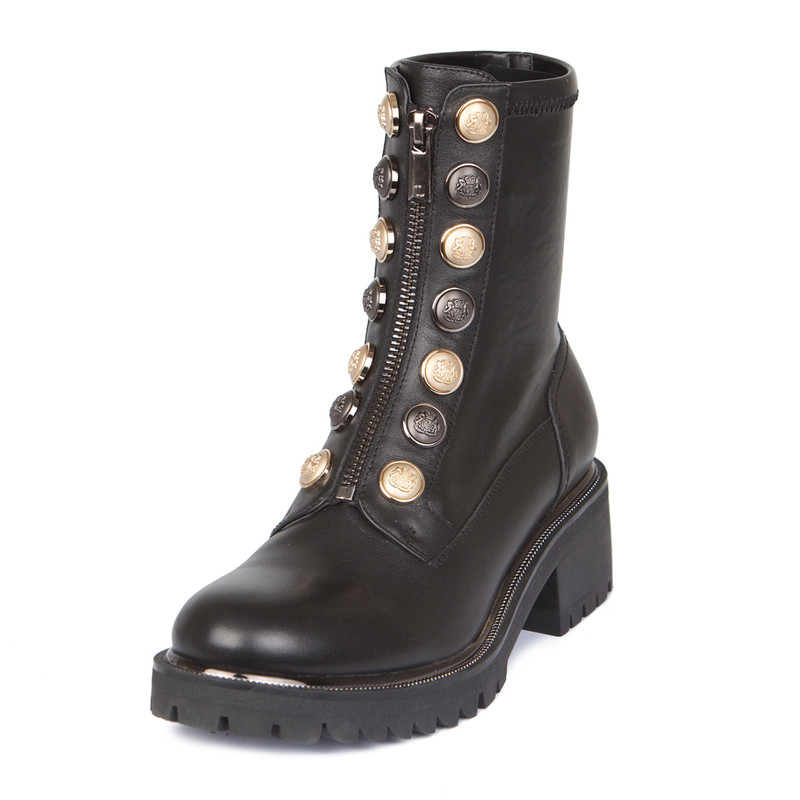 Women's Buttons Trim Stretch Leather Boots  GS 5329038 BLZ | TJ COLLECTION | Side Image - 1