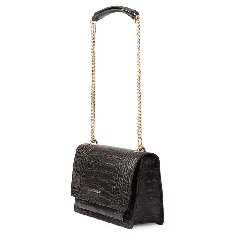 Embossed Leather Chain Trim Shoulder Bag San Marino XT 5131018 VLC | TJ COLLECTION | Side Image - 1