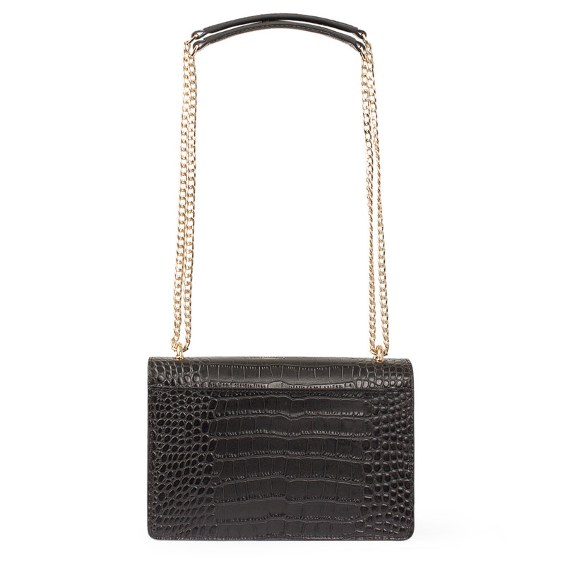 Embossed Leather Chain Trim Shoulder Bag San Marino XT 5131018 VLC | TJ COLLECTION | Side Image - 2