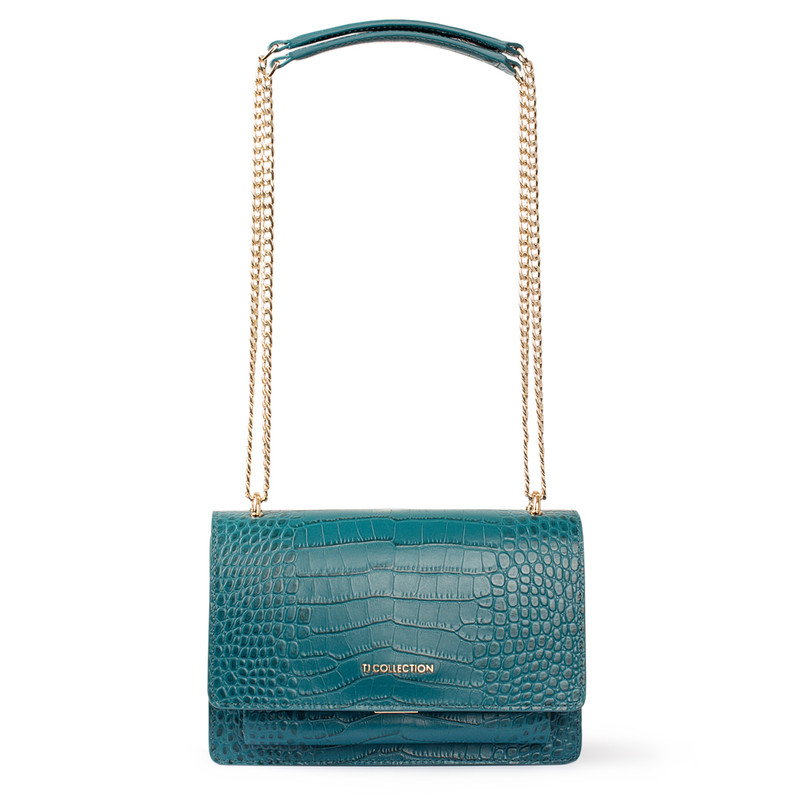Embossed Turquoise Leather Chain Trim Shoulder Bag San Marino XT 5131018 GNC