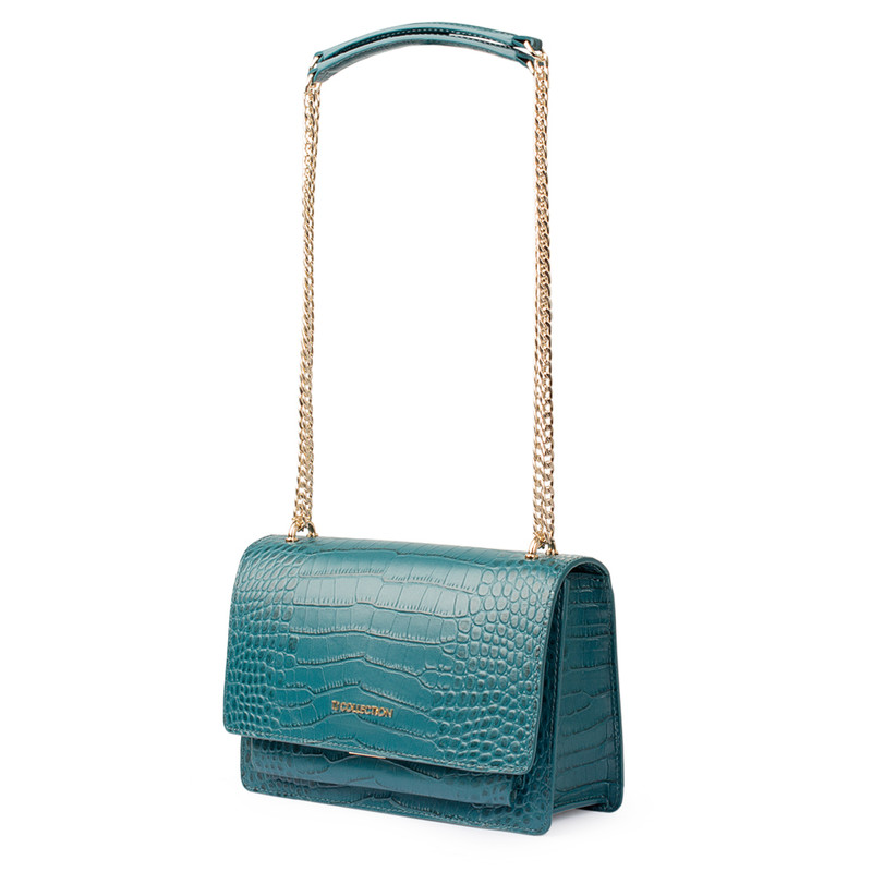 Embossed Turquoise Leather Chain Trim Shoulder Bag San Marino XT 5131018 GNC | TJ COLLECTION | Side Image - 1