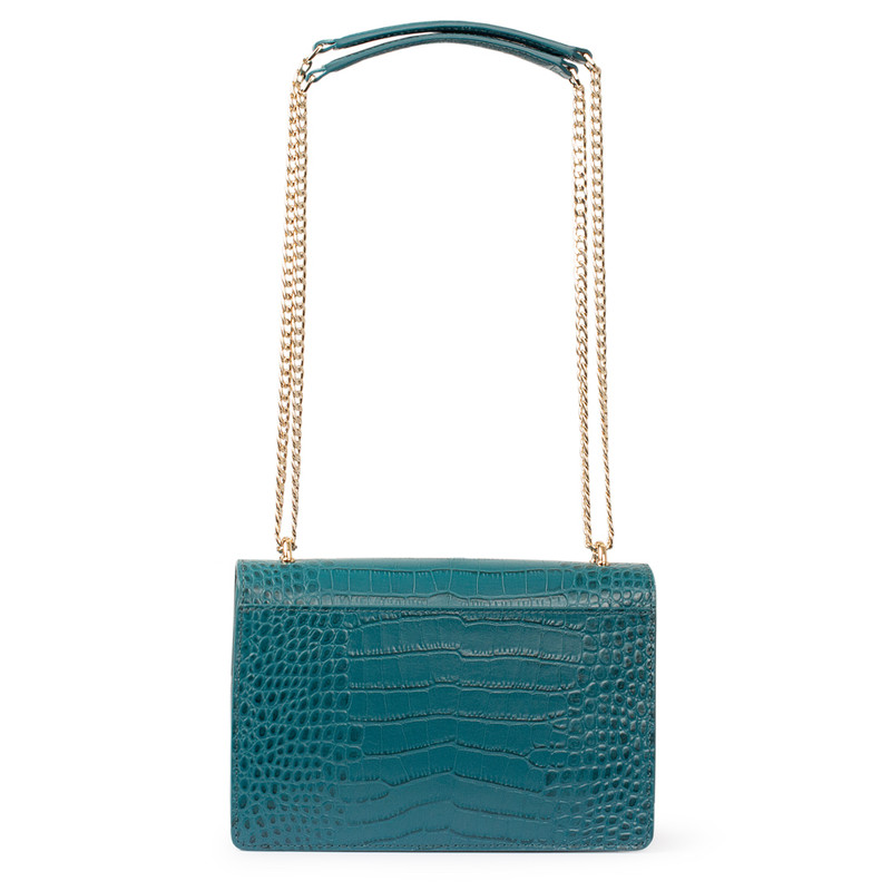 Embossed Turquoise Leather Chain Trim Shoulder Bag San Marino XT 5131018 GNC | TJ COLLECTION | Side Image - 2