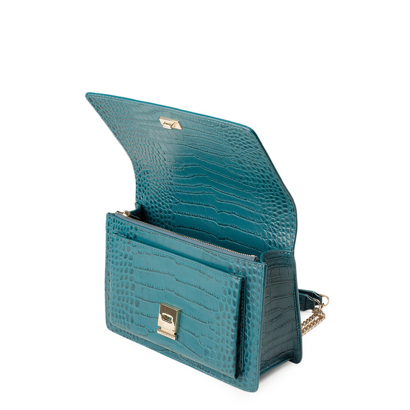 Embossed Turquoise Leather Chain Trim Shoulder Bag San Marino XT 5131018 GNC | TJ COLLECTION | Side Image - 3