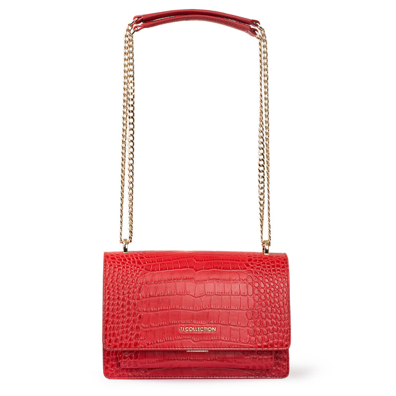 Embossed Red Leather Chain Trim Shoulder Bag San Marino XT 5131018 RDC