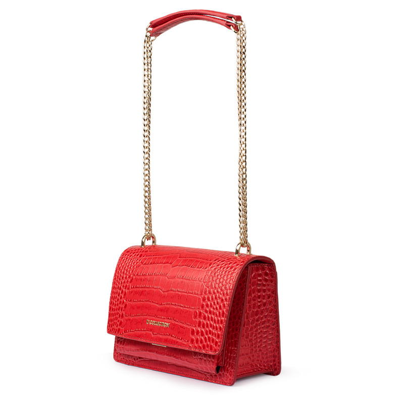 Embossed Red Leather Chain Trim Shoulder Bag San Marino XT 5131018 RDC | TJ COLLECTION | Side Image - 1