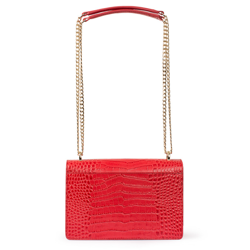 Embossed Red Leather Chain Trim Shoulder Bag San Marino XT 5131018 RDC | TJ COLLECTION | Side Image - 2