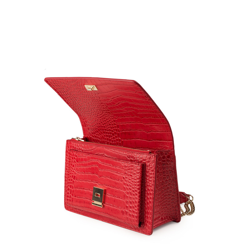 Embossed Red Leather Chain Trim Shoulder Bag San Marino XT 5131018 RDC | TJ COLLECTION | Side Image - 3