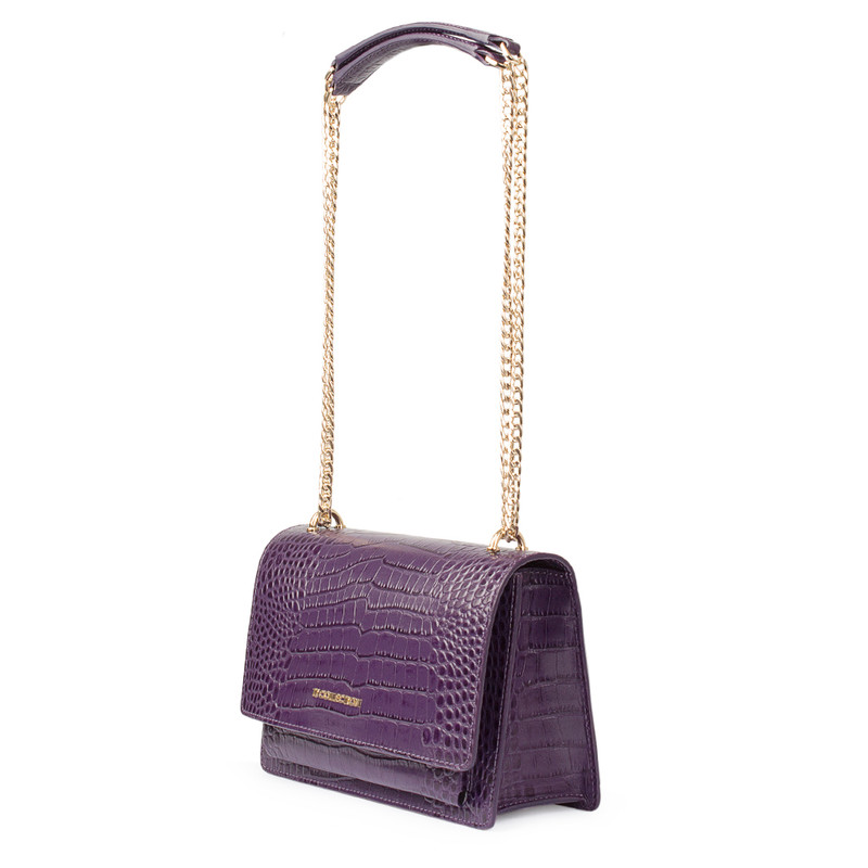 Embossed Amethyst Leather Chain Trim Shoulder Bag San Marino XT 5131018 VLC | TJ COLLECTION | Side Image - 1