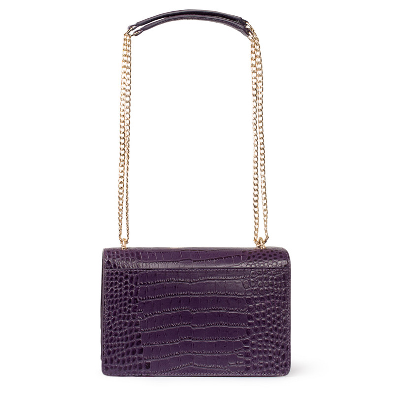 Embossed Amethyst Leather Chain Trim Shoulder Bag San Marino XT 5131018 VLC | TJ COLLECTION | Side Image - 2