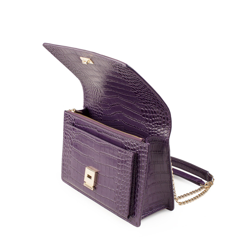 Embossed Amethyst Leather Chain Trim Shoulder Bag San Marino XT 5131018 VLC | TJ COLLECTION | Side Image - 3