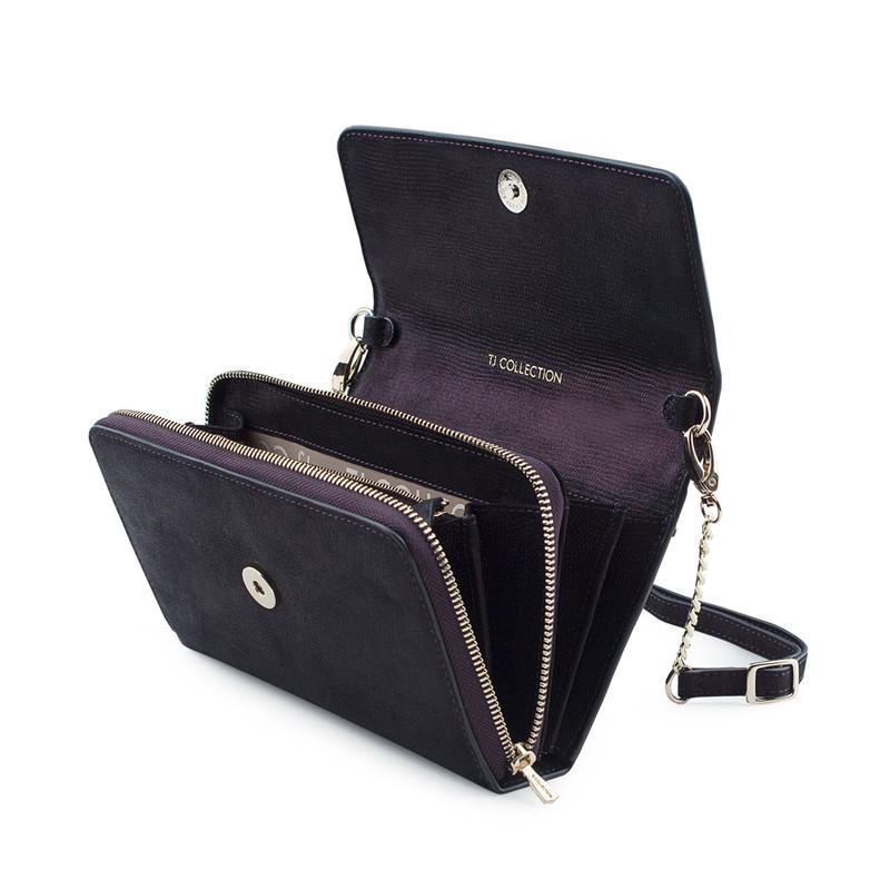 Embossed Shimmering Suede Mini Bag Vienna YA 5120918 VLZ | TJ COLLECTION | Side Image - 3