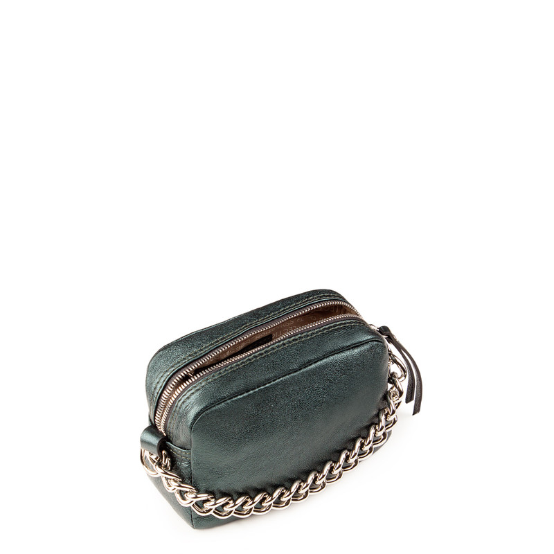 Emerald Cracked-Leather Chain Trim Mini Bag Rimini YG 5104118 GNZ | TJ COLLECTION | Side Image - 3