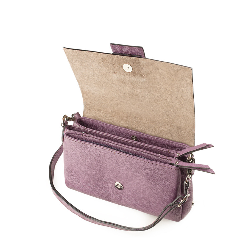 Lavender Grained Leather Shoulder Bag Saint-Tropez YG 5152618 VLT | TJ COLLECTION | Side Image - 3