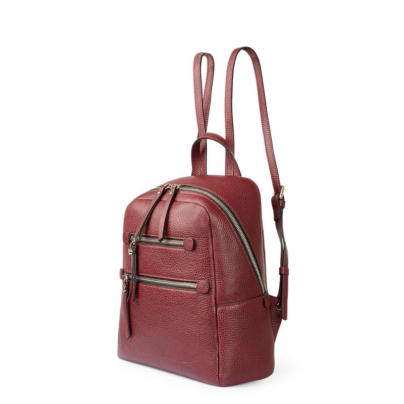 Dark Red Grained Leather Soho Backpack YG 5320818 BDR   TJ COLLECTION   Side Image - 1