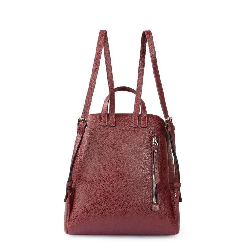 Dark Red Grained Leather Soho Backpack YG 5320818 BDR   TJ COLLECTION   Side Image - 2