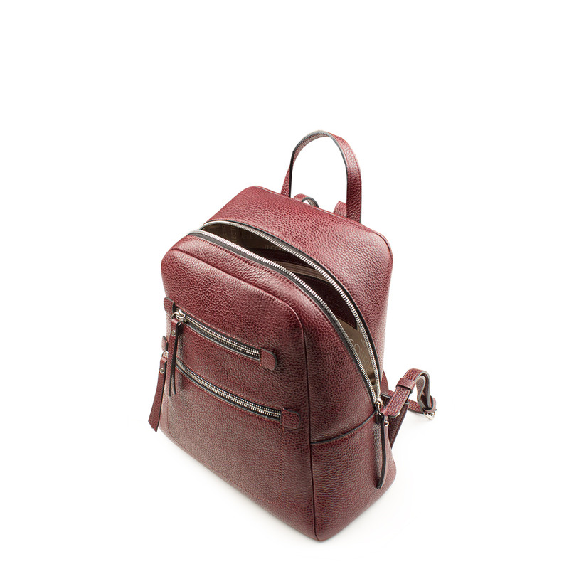 Dark Red Grained Leather Soho Backpack YG 5320818 BDR   TJ COLLECTION   Side Image - 3