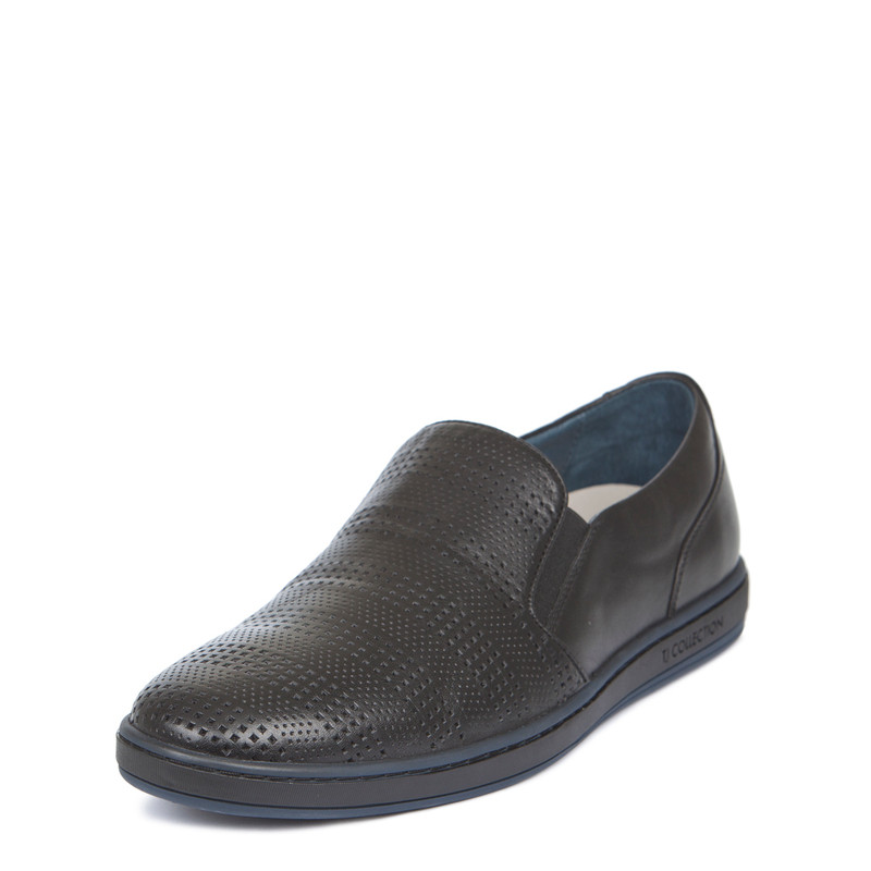 Men's Perforated Leather Slip-On Sneakers TK 7103019 BLK | TJ COLLECTION | Side Image - 1