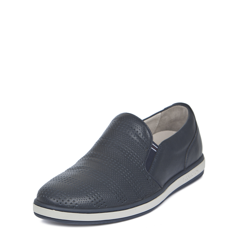 Men's Blue Perforated Leather Slip-On Sneakers TK 7103019 NVI | TJ COLLECTION | Side Image - 1
