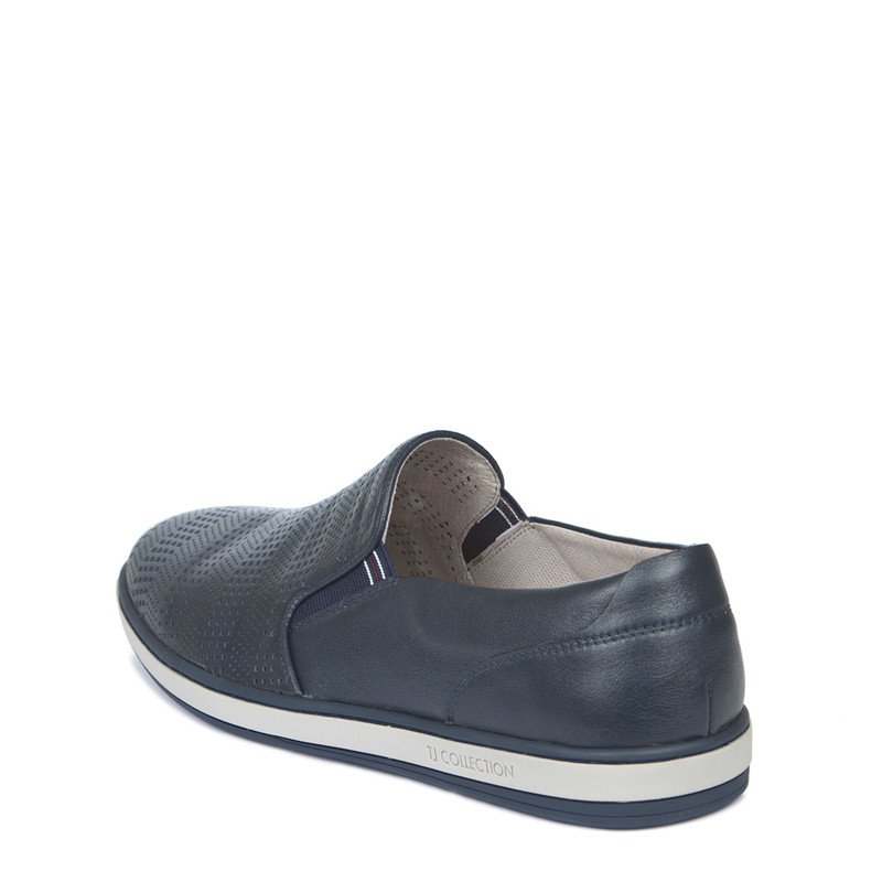 Men's Blue Perforated Leather Slip-On Sneakers TK 7103019 NVI