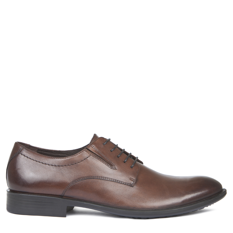 Men's Tan Polished Leather Derby Shoes MP 7291019 CGA