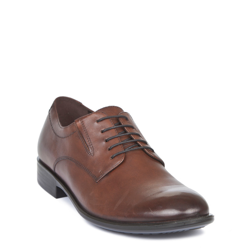 Men's Tan Polished Leather Derby Shoes MP 7291019 CGA | TJ COLLECTION | Side Image - 1