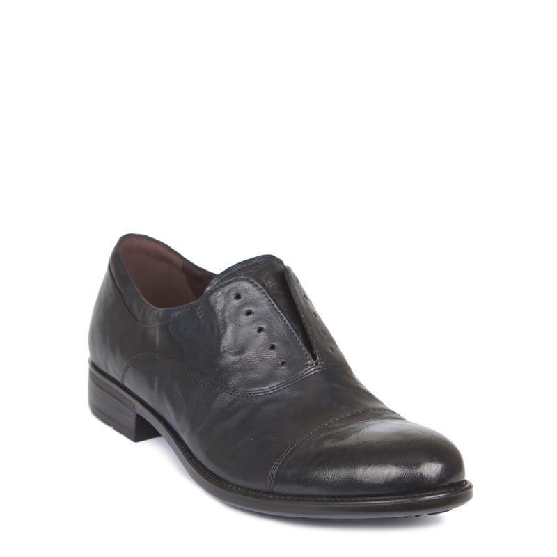 Men's Washed Navy Leather Slip-On Oxfords MP 7294919 NVA | TJ COLLECTION | Side Image - 1