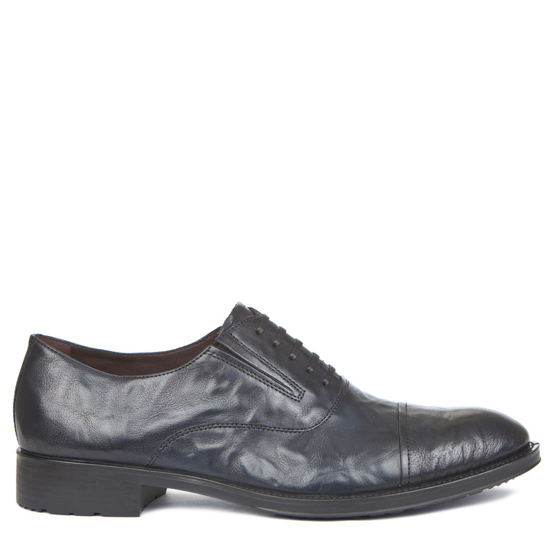 Men's Textured Leather Navy Oxford Shoes MP 7298519 NVA