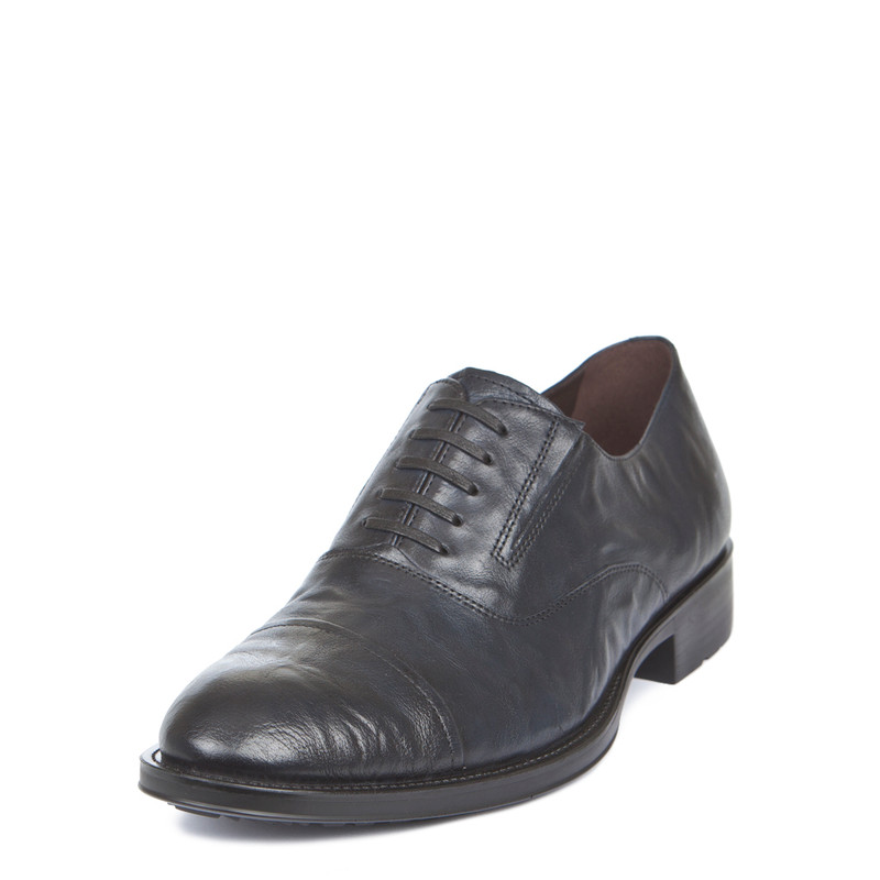 Men's Textured Leather Navy Oxford Shoes MP 7298519 NVA | TJ COLLECTION | Side Image - 1