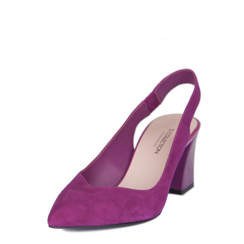 Women's Fuchsia Suede Slingback Courts GF 5167719 VLS | TJ COLLECTION | Side Image - 1