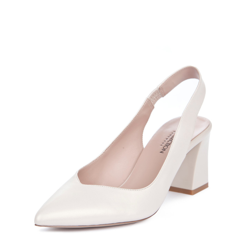 Women's Pointed-Toe Slingback Courts in Pearl Leather  GF 5167719 WHZ | TJ COLLECTION | Side Image - 1