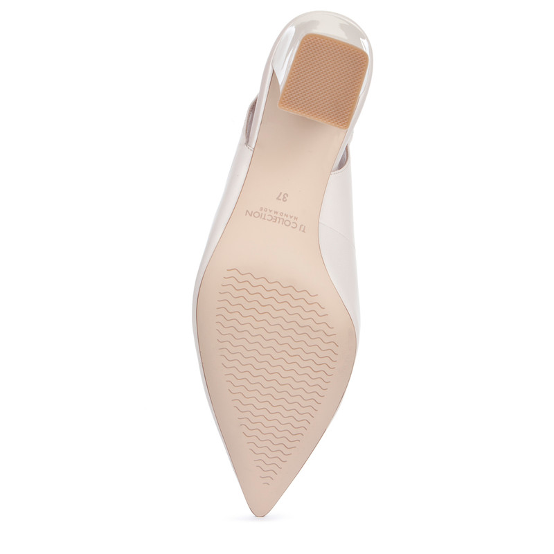 Women's Pointed-Toe Slingback Courts in Pearl Leather  GF 5167719 WHZ