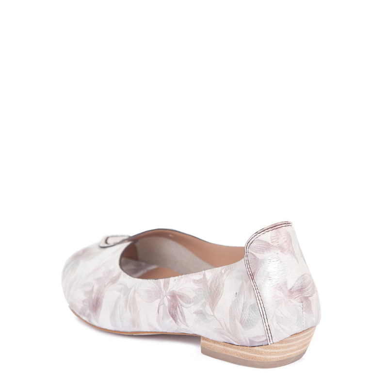 Women's Floral Print Leather Peep-Toe Ballerinas GP 5101019 PNF