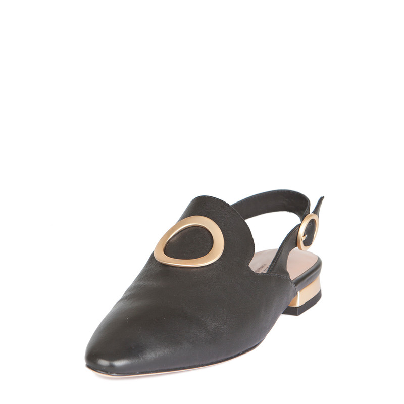 Women's Slingback Mules with Hardware Trim GR 5116119 BLZ | TJ COLLECTION | Side Image - 1