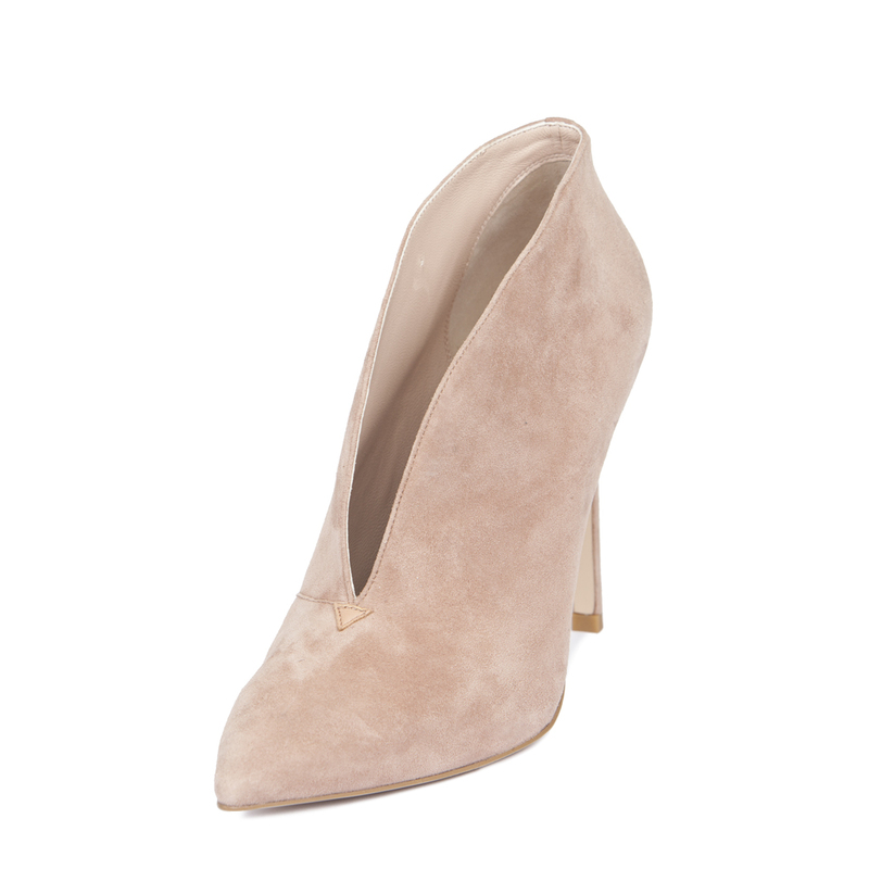 Women's Powder Rose Suede Stiletto Ankle Boots GJ 5299119 TPS | TJ COLLECTION | Side Image - 1