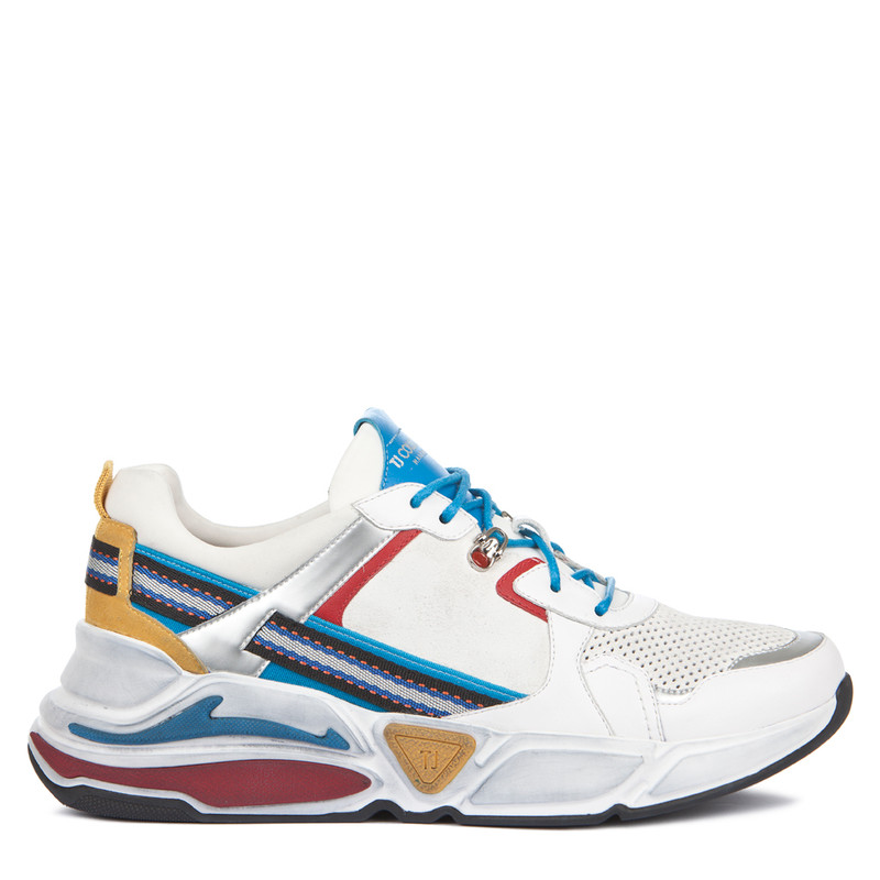 Women's Oversized Sole Leather Trainers GS 5210739 WHM