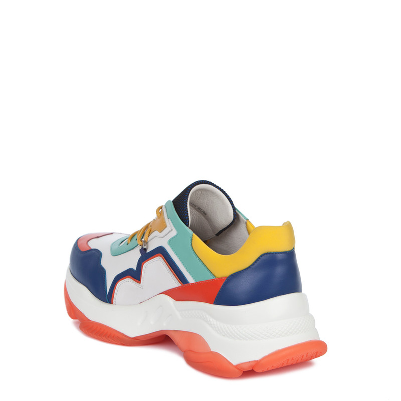 Women's Chunky Sole Vibrant Leather Trainers GS 5224019 BUM | TJ COLLECTION | Side Image - 2