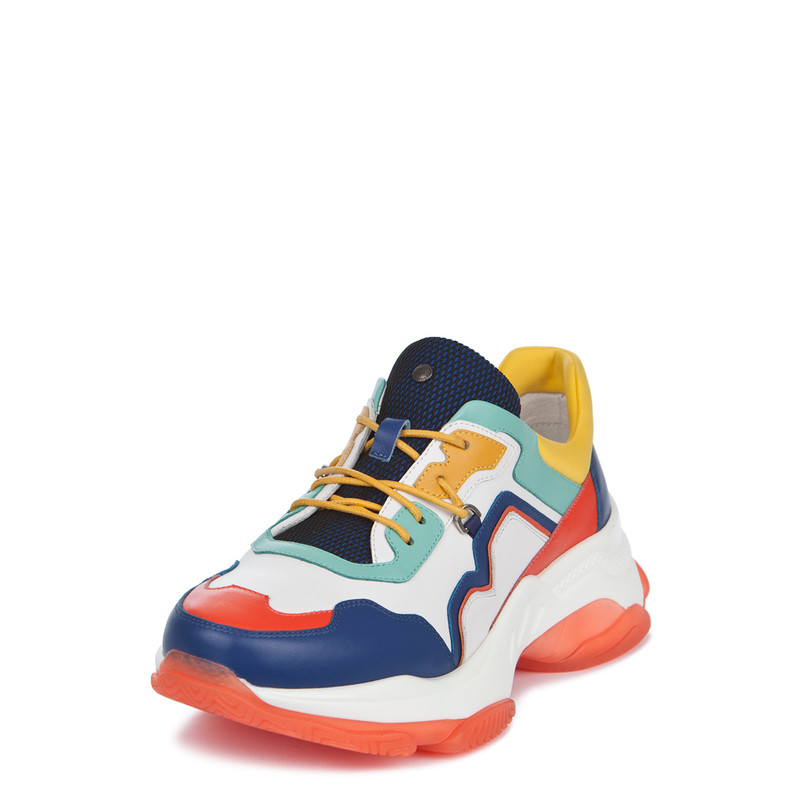 Women's Chunky Sole Vibrant Leather Trainers GS 5224019 BUM | TJ COLLECTION | Side Image - 1