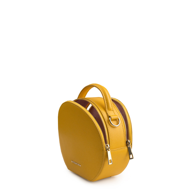 Citrus Yellow Leather Cross-Body Mini Bag Positano XN 5160019 YLW | TJ COLLECTION | Side Image - 3