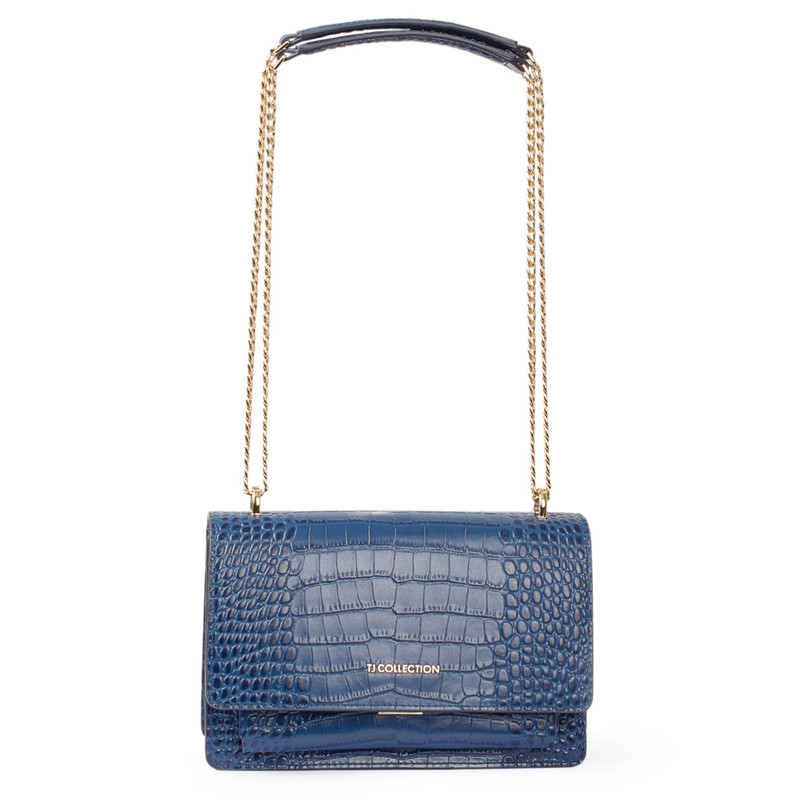 Embossed Blue Leather Chain Trim Shoulder Bag San Marino XT 5131019 BUC