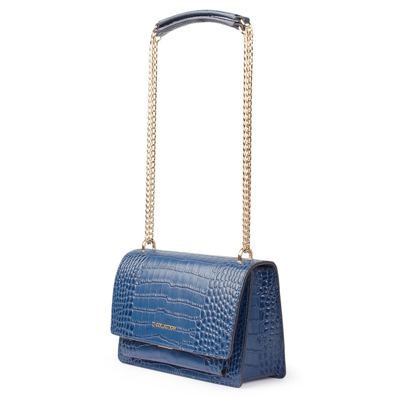 Embossed Blue Leather Chain Trim Shoulder Bag San Marino XT 5131019 BUC   TJ COLLECTION   Side Image - 1