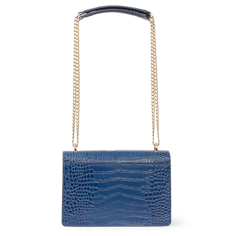 Embossed Blue Leather Chain Trim Shoulder Bag San Marino XT 5131019 BUC | TJ COLLECTION | Side Image - 2