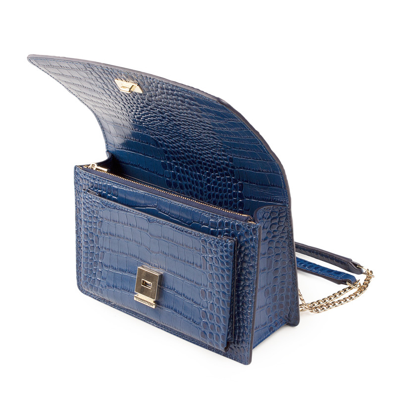 Embossed Blue Leather Chain Trim Shoulder Bag San Marino XT 5131019 BUC   TJ COLLECTION   Side Image - 3