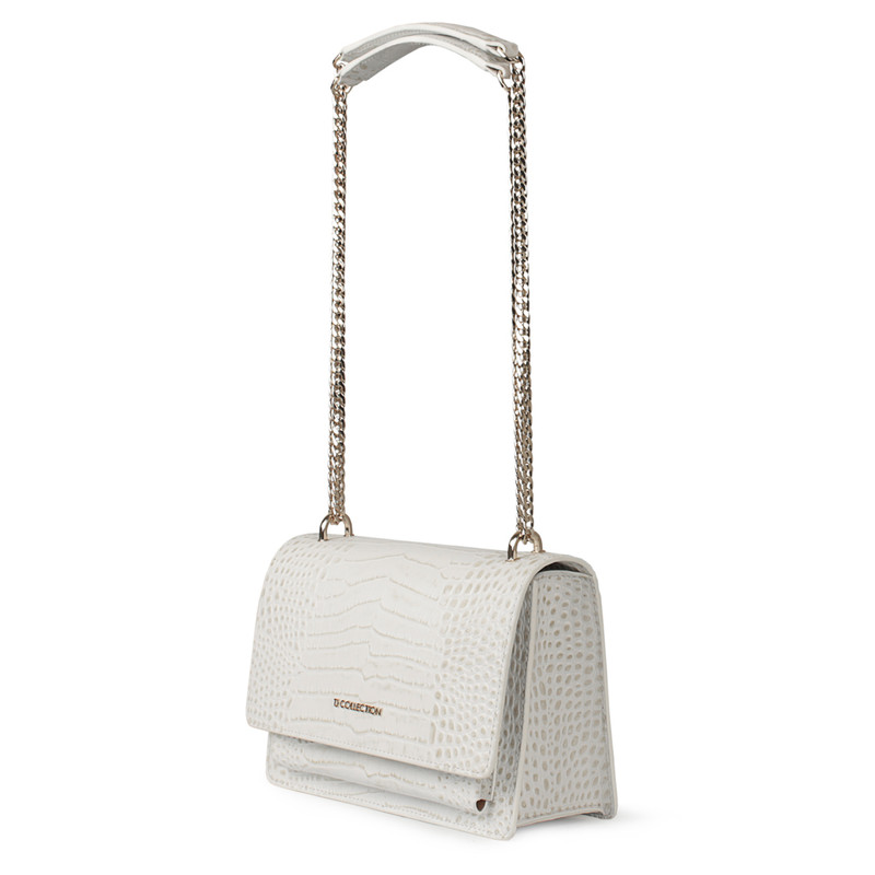 Embossed White Leather Chain Trim Shoulder Bag San Marino XT 5131019 WHC | TJ COLLECTION | Side Image - 1