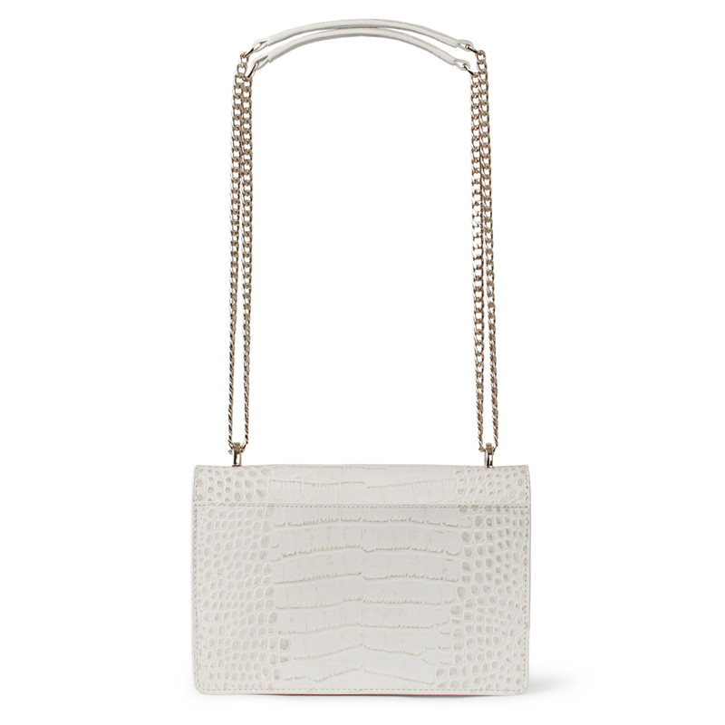 Embossed White Leather Chain Trim Shoulder Bag San Marino XT 5131019 WHC | TJ COLLECTION | Side Image - 2