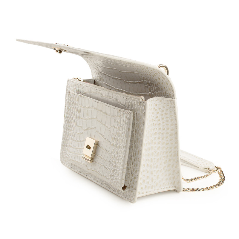 Embossed White Leather Chain Trim Shoulder Bag San Marino XT 5131019 WHC | TJ COLLECTION | Side Image - 3