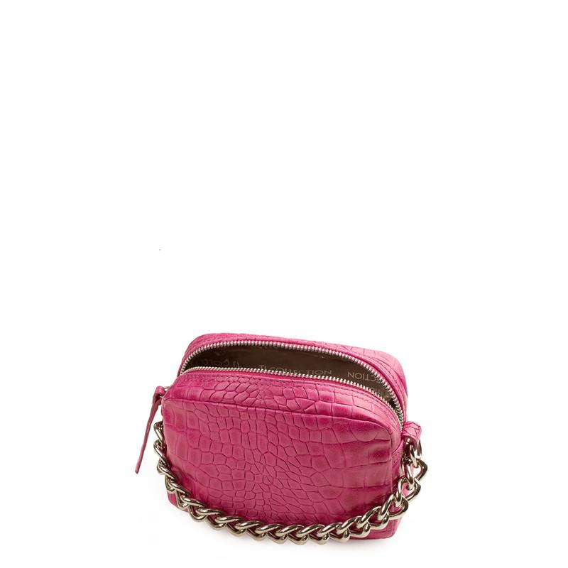 Fuchsia Embossed Leather  Mini Bag Rimini YG 5104119 FXC | TJ COLLECTION | Side Image - 3