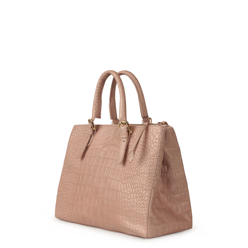 Embossed Leather Nude Bag Sienna YG 5330819 LLC | TJ COLLECTION | Side Image - 1