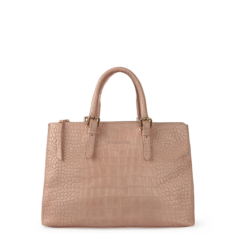 Embossed Leather Nude Bag Sienna YG 5330819 LLC | TJ COLLECTION | Side Image - 2