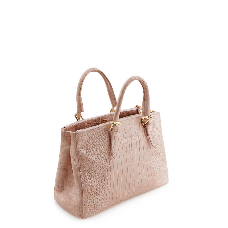 Embossed Leather Nude Bag Sienna YG 5330819 LLC | TJ COLLECTION | Side Image - 3